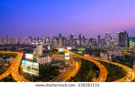 Bangkok, Thailand - December 12, 2014: Rush hour traffic in a big city of main tolls of Bangkok, Thailand.