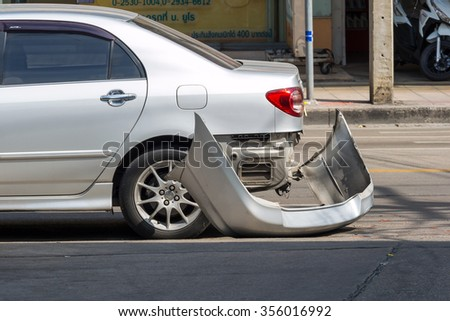 BANGKOK, THAILAND - DECEMBER 18: ,The car rear-end collisions because of careless driving in Bangkok , Thailand on 18 December 2015 - stock photo