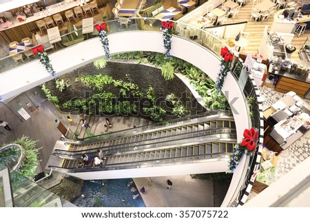 Bangkok, Thailand - DECEMBER 29 2015 -The New Emquartier shopping mall at BTS Phrom Phong station in Bangkok Thailand on December 29,2015 - stock photo