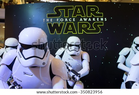 Bangkok, Thailand - 13 December 2015 : The Starwars display for promote movie 'Starwars 7 : The force awakens at Central world, Bangkok, Thailand. - stock photo