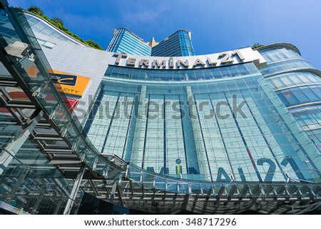 Bangkok, Thailand - 7 December 2015 : The view from below of Terminal 21 (famous shopping mall at the intersection of BTS Asoke and MRT Asoke)