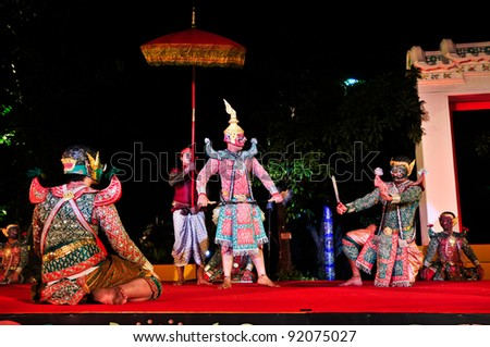 BANGKOK,THAILAND-DECEMBER 24:Unidentified actors perform at the Ramayana Masked Dance Drama with Orchestra play on The celebrated inscription of Wat Pho on Dec.24, 2011 in Bangkok,Thailand.