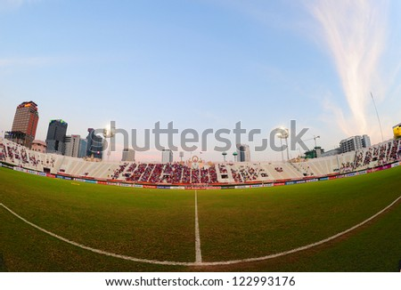 BANGKOK THAILAND-DECEMBER 13:Unidentified view of  Supachalasai stadium during the AFF Suzuki Cup between  Malaysia and Thailand at Supachalasai stadium on Dec13, 2012 in,Thailand.