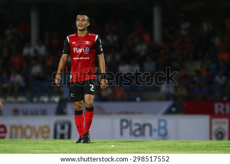 BANGKOK THAILAND- FEB 21:Ekkachai Samre of Bangkok UTD F.C. in action during Thai Premier League between Bangkok UTD F.C. and Ratchaburi F.C. at Thai-Japanese Stadium on Feb21,2015 in Bangkok Thailand - stock photo