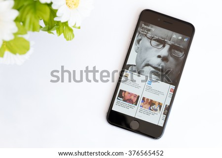 Bangkok, Thailand - feb 10, 2016 : Facebook Paper application on iphone 6, Facebook Paper is a standalone mobile app created by Facebook, only for iOS. - stock photo
