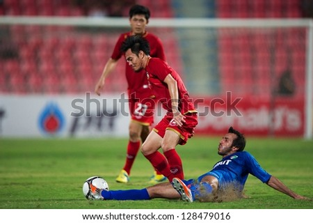 BANGKOK THAILAND-FEB 06:Pichitphong Choeichiu (red) of Thailand in action during the football 2015 Asian Cup qualifying between Thailand and Kuwait at Rajamangala stadium on Feb 06,2013 in,Thailand.