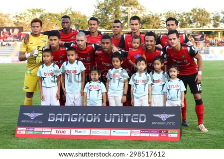 BANGKOK THAILAND- FEB 21:Players of Bangkok UTD F.C. shot photo during Thai Premier League between Bangkok UTD F.C. and Ratchaburi F.C. at Thai-Japanese Stadium on Feb21,2015 in Bangkok Thailand - stock photo