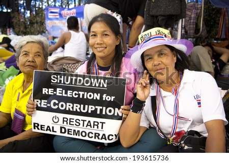 BANGKOK, THAILAND - 15 FEBRUARY 2014: Bangkok Shutdown Protestors - stock photo