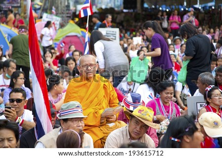 BANGKOK, THAILAND - 15 FEBRUARY 2014: Buddhist Monk at Bangkok Shutdown Protests in Thailand - stock photo