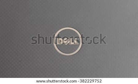 BANGKOK, Thailand- February 26 2016: Dell Logo on notebook cover. Dell Inc. is an American multinational computer technology company that develops, sells and repairs computers.