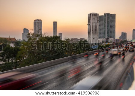 BANGKOK, THAILAND - FEBRUARY 05, 2015: Traffic on highway in central Bangkok on sunset, Thailand