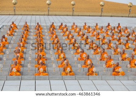 BANGKOK,THAILAND - FEBRUARY 22, 2016: Unidentified Thai monks during Buddhist ceremony Magha Puja Day in Wat Phra Dhammakaya