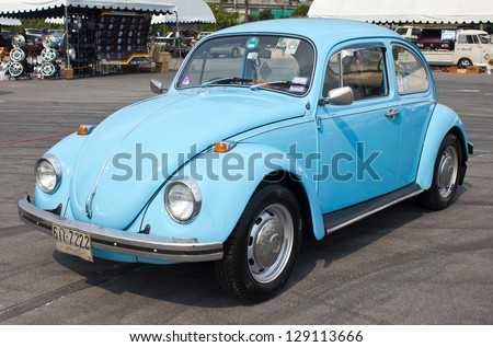BANGKOK, THAILAND - FEBRUARY 17 : Volkswagen retro vintage car in  Siam VW festival 2013 on  February 17, 2013 in Bangkok Thailand. - stock photo