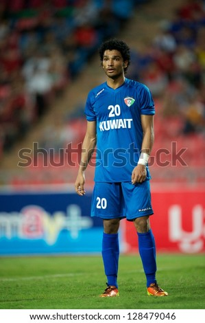 BANGKOK THAILAND-FEBRUARY 06:Yousef Nasser #20 of Kuwait  in action during the football 2015 Asian Cup qualifying between Thailand and Kuwait at Rajamangala stadium on Feb 06,2013 in,Thailand.