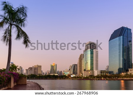 BANGKOK, THAILAND - Febuary 26 :Lake at the Benchakitti Park in Bangkok on 26 Febuary 2015. Benjakiti Park is a park in honor of Her Majesty Queen Sirikit, is located in the factory area. - stock photo
