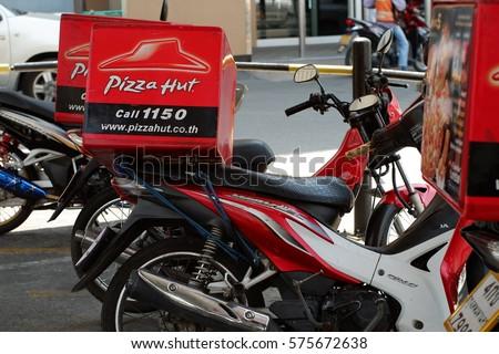 Bangkok ThailandFebulary 8 2017 Delivery Pizza Hut