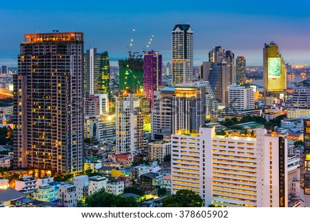 Bangkok, Thailand, financial district cityscape.