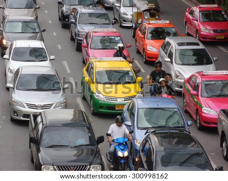 Bangkok,Thailand - J16 April 2012 : Traffic nears gridlock on a city centre road during evening rush hour