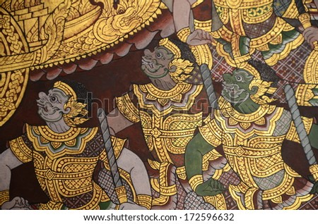 BANGKOK ,THAILAND - JAN 19 : Ancient Thai mural painting with tempera colors and gilding painting of Ramayana story in  Wat Phra Sri Rattana Satsadaram on January 19, 2013 in Bangkok, Thailand.