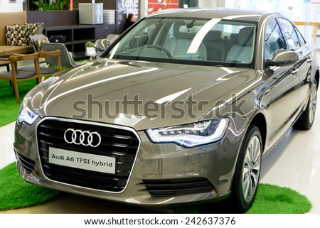 BANGKOK, THAILAND - JAN 08 2015 : Audi A6 on display at The showroom in Siam Paragon which is the biggest shopping mall in Thailand. - stock photo