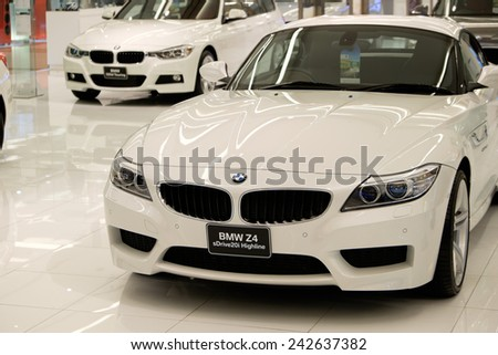 BANGKOK, THAILAND - JAN 08 2015 : BMW Z4 on display at The showroom in Siam Paragon which is the biggest shopping mall in Thailand. - stock photo