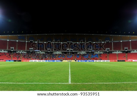 BANGKOK THAILAND-JAN15:Rajamangala stadium  during the 41st King's cup football between Thailand(Y) and Korea Rep(R)at Rajamangala stadium on Jan15,2012 in Bangkok,Thailand.