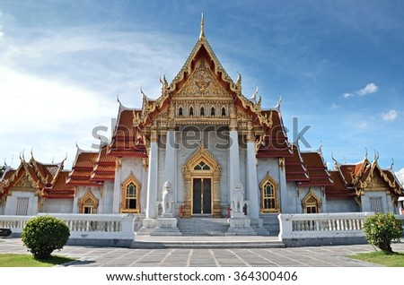 Bangkok,THAILAND - JAN 18: 2016. Wat Benchamabophit Dusitvanaram (The Marble Temple) is a Buddhist temple in the Dusit district of Bangkok.