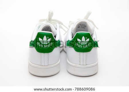 BANGKOK, THAILAND - JANUARY 6, 2018 : Adidas stan smith classic shoes  popular fashion