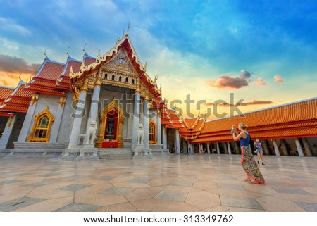 BANGKOK, THAILAND - JANUARY 9: Benchamabophit Temple in Bangkok, Thailand on January 9, 2015. Known as the marble temple, one of Bangkok's most beautiful temples and a major  attraction - stock photo