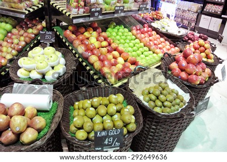 BANGKOK, THAILAND - JANUARY 30, 2015: Fresh fruits for sale. Villa Market is Thailand's largest imported food distributor and supermarket chain with over 35 stores in Thailand.