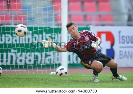 BANGKOK THAILAND-JANUARY 15:Hasen Jasper (GK) of Denmark Practice before games during the 41st King's cup match between Korea Rep and Denmark at Rajamangala stadium on Jan15,2012 in