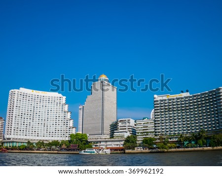 Bangkok, Thailand - January 30, 2016. Hotel by Chao Phraya River side at Bangkok, Thailand