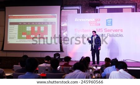 Bangkok, Thailand - January 21,2015 : Lenovo Thailand official announcement Lenovo (IBM) Systems x Server M5 product to Lenovo business partner. - stock photo