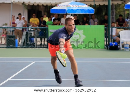 Bangkok,Thailand-January 10 : M. Youzhny (RUS) action in KPN Bangkok Open ATP Challenger Tour 2016 (1) $50,000 at Rama Gardens Hotel on Jan 10, 2016 in Bangkok, Thailand. He won Soeda (JPN) 6-3, 6-4