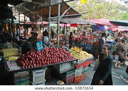BANGKOK, THAILAND - JANUARY 15: Marketplace in Bangkok city January 15, 2008 in Bangkok, Thailand. - stock photo
