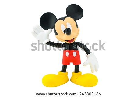 Bangkok, Thailand - January 6, 2015: Mickey Mouse action figure the official mascot of The Walt Disney Company. Mickey Mouse is a funny animal cartoon character was created by Walt Disney. - stock photo