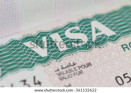 BANGKOK, THAILAND - JANUARY 9, 2016 : Morocco Visa on the Passport on January 10,2016 in Bangkok Thailand. - stock photo