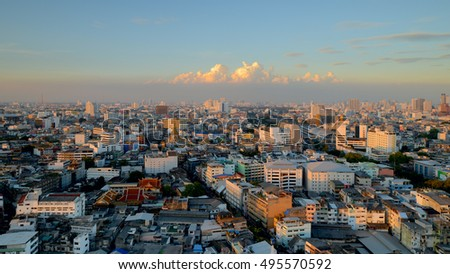 BANGKOK, THAILAND - JANUARY 18: Old Chinatown skyline in late afternoon on JANUARY 18, 2016 in Bangkok. Chinatown is an old district of Thailand, very famous for tourists to try authentic street food.