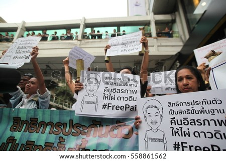 Bangkok,Thailand,January,2017,18 Political activists group protest for political activist  right to be released on bail.