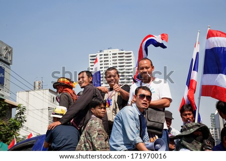 Bangkok, Thailand - January 16 2014: Protesters against the government rally together at Asok  on January 16, 2014 in Bangkok, Thailand - stock photo