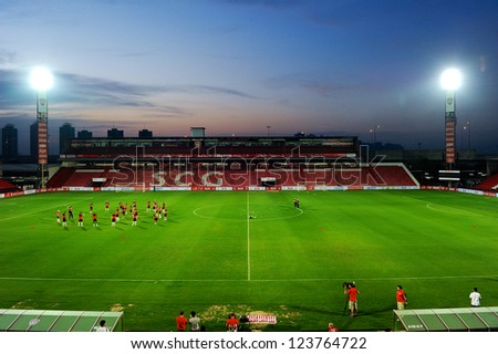 BANGKOK,THAILAND-JANUARY 6: PSV players assemble for a training  ahead of The AIA Champions Cup match between SCG Muangthong Utd. and PSV at SCG Stadium on Jan6,2012 in ,Thailand.