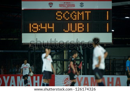 BANGKOK,THAILAND-JANUARY 27:Show scoreboards match during The Yamaha Invitation 2013 between SCG Muangthong Utd. and Jubilo Iwata at SCG Stadium on Jan27,2013 in,Thailand.