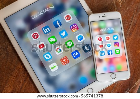 BANGKOK, THAILAND- January 29, 2017: Social media app icons on Ipad, iphone touchscreen mobile cross-channel and multi-channel internet application technology for people lifestyle in digital 4.0 age.