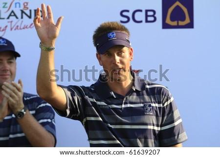 BANGKOK, THAILAND - JANUARY 10: Swedish golf player Henrik Stenson  at the Royal Trophy tournament, Asia vs Europe, at Amata Spring, Bangkok, Thailand on January 10, 2010 - stock photo