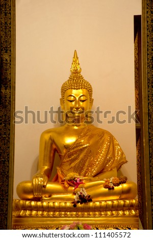 "BANGKOK, THAILAND - JANUARY 11 :The ancient over 150 years sit Buddha in Bangkok called ""Pha Braramee"" wait for Thai people to worship at Buavorniwet temple on January 11,2012 in Bangkok,Thailand."