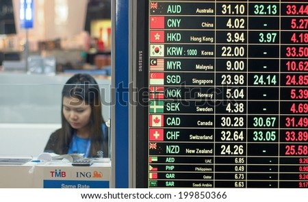 BANGKOK, THAILAND - JANUARY 05: Tourist exchange office in airoport Suvarnabhumi placards with the currency exchange rate on January 05, 2012 in Bangkok.Thailand - stock photo