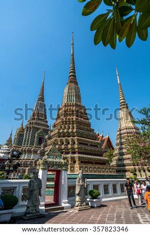 BANGKOK, THAILAND - JANUARY 2: Wat Pho in Bangkok, Thailand on January 2, 2016.One of the largest and oldest temples in Bangkok, houses one of the largest reclining Buddha images of 160 ft length. - stock photo