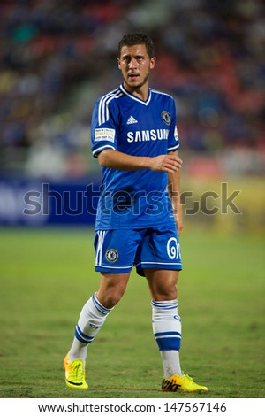 BANGKOK,THAILAND-JU LY17:Eden Hazard of Chelsea in action during the international friendly match Chelsea FC and Singha Thailand All-Star at the Rajamangala Stadium on July17,2013 in Thailand. - stock photo