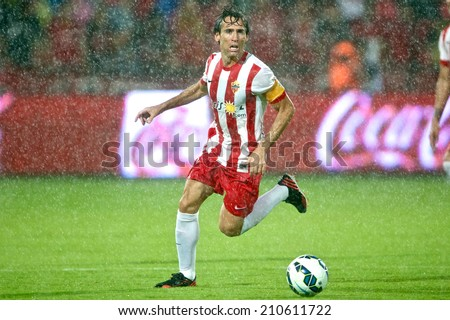 BANGKOK THAILAND-Jul 30:Corona of UD Almeria in action during the LFP World Challenge 2014 between Muangthong UTD. and UD Almeria at SCG Stadium on July30,2014,Thailand - stock photo