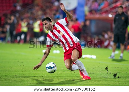 BANGKOK THAILAND-Jul30:Edgar Mendez of Almeria. for the ball during  the LFP World Challenge 2014 between SCG Muangthong UTD. and Almeria at SCG Stadium on July30,2014,Thailand